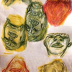 Buddhas (LelandStruebig) Tags: buddha buddhism drawing rubbing coloredpencil coloredpencils relief reliefprint proof printmaking pencil portrait