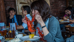 2017 - Boston - NO Name Restaurant (Ted's photos - For Me & You) Tags: 2017 boston cropped nikon nikond750 nikonfx tedmcgrath tedsphotos usa vignetting nonamerestaurant bostonnonamerestaurant nonamerestaurantboston lobster dining restaurant cafe diner eating girleating corn corncob food wristwatch fish bib