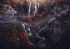 worlds evaporating (cherryspicks (on/off)) Tags: plitvice lakes croatia unesco landscape autumn fall waterfall water longexposure trees evening mist fog evaporation environment ecology