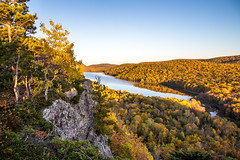 Sunset Blue (The Charliecam) Tags: porcupinemountainwilderness michigansupperpeninsula michiganfavorites cliffs water fallcolors autumn sunset blue sky canon6d 24105f4l