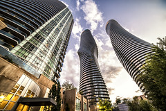 Marilyn Monroe buildings (mystero233) Tags: marilyn monroe building skyscraper architecture tall glass toronto ontario canada sky city town sun autumn mississauga landscape cityscape wideangle 14mm outdoor