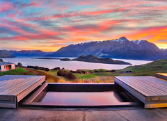 Aro-Ha At Sunset (Stuck in Customs) Tags: glenorchy newzealand stuckincustoms stuckincustomscom treyratcliff aroha horizontal colour color yoga retreat queenstown southisland southernalps pigeonisland snow view mountbonpland kinloch mountlarkins glaciallake wakatipu roto manamoana reflection pond tussock sky clouds farmland grasses green blue purple red orange island relaxation spa sonyilce7r sony paradise trey ratcliff rr dailyphoto outdoor water hill mountain mountainside landscape lake sonya7r2 serene sunset pink