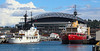 Safeco Field hiding behind two icebreakers (megatroncox) Tags: safeco stadium baseball field ship ice icebreaker