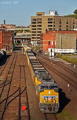 "Westbound Empty Coal Train in Kansas City, MO (""Righteous"" Grant G.) Tags: up union pacific railroad railway locomotive train trains west westbound empty coal kansas city missouri"