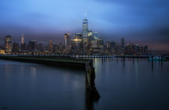 NY Blues (Gary Walters) Tags: 1wtc bluehour atmosphere longexposure moody water sony newyork fog nightscape a7r cityscape clouds