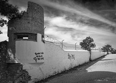 Outside of the Wall (panos_adgr) Tags: nikon d7200 greece monochrome bw wall clouds charavgi fence tree white contrast lines writing shadow sunny flickr explored explore 25092017 urban mood drama