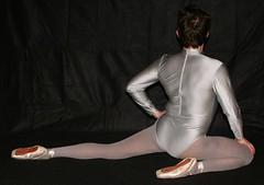 In silver on Pointe (flextoe) Tags: ballet pointe shoes spitzenschuhe ballett spitze dance lycra shiny leotard