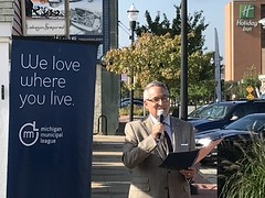 Muskegon Mayor Stephen Gawron Talks About the Power of Placemaking During News Conference at Western Market in Downtown Muskegon October 6, 2017 - Photo by Michigan Municipal League (Michigan Municipal League (MML)) Tags: adecadeofplacemakinginmichigan placemakingreport michiganmunicipalleague muskegon popupshops westernmarket