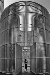 Escape From a Giant Work of Art (CVerwaal) Tags: blackandwhite publicart sculpture newyork ny usa fujifilmx100t gildedcage aiweiwei goodfencemakegoodneighbors