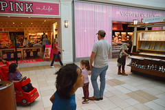 Keeping dad company (radargeek) Tags: norman ok oklahoma soonermall mall pink victoriassecret dad daughter kid child stroller children