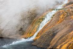 Water, Steam & Stones (Pejasar) Tags: steam stream rock yellow yellowstone nationalpark wyoming nature stone