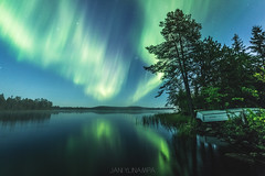 Ordinary Lappish scenery (janiylinampa) Tags: lapland finland lappi suomi laponie laponia lappland finnland northernlights auroraborealis auroras phenomenon night nightphotography reflections lake