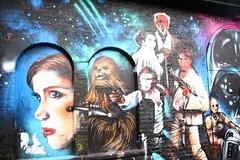 Graffiti in Brick Lane area, Shoreditch (Ian Press Photography) Tags: princess leia chewbacca wookie han solo obi wan kenobie graffiti streetart street art london shoreditch brick lane artist artists jim vision star wars c3po r2d2