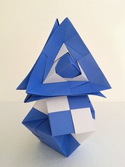 Trapped cube on truncated cube (ISO_rigami) Tags: modular origami sonobe a4 rectangular 3d