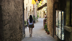 Strolling down the alleys of San Marino (B℮n) Tags: monumento bartolomeo borghesi adriatic sea sanmarino cittàdisanmarino montetitano is land clifftop castlesis enigmatic mysteryis vertiginous views castle slopes mountain republic tourist vacation hills ridge viewpoint clifftops unesco panorama state visiting summer steep alley street walking strolling shopping walled city walk streets narrow hillside 50faves topf50