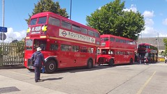 SLT58 RML3, WLT903 RML503 and LTZ1548 New Routemaster NBfL at Willesden Bus Garage Open Day (UK-Vehicle-Photos) Tags: slt58 rml3 wlt903 rml503 1958 leyland aec routemaster routemasters bus buses 1963 leylandaecroutemaster aecroutemaster willesdenbusgarage