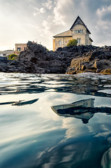 Beautiful luxury houses reflected over the sea at sunset, Catania, Italy (Alfio Alessandro Finocchiaro) Tags: historic mansion rich tourism tourist travel villa architecture bay beach beachhouse building catania cityscape coastal coastline culture dock europe holiday home italian italianvilla italy landscape lifestyle luxury mediterranean ocean ognina reflections richlifestyle riviera rocks scenery sea seafront seascape seashore seaside sicilian sicily summer sunset touristic traveldestinations vacation water wealthy