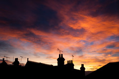D244 / Y6. (evilibby) Tags: skyline silhouette houses residential chimneys rooftops sunset pink blue purple golden colourful bright dark dusk evening project365