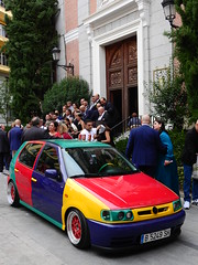 Was a Madrid wedding (Couldn't Call It Unexpected) Tags: wedding marriage car madrid spain colourful volkswagen golf harlequin ceremony polo chuckberry