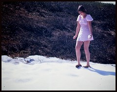 In 1974, she liked snowballing...hmm.. (iEagle2) Tags: analog analogfilm analogue colorslide ehefrau female femme frau film woman wife norway norge snow snowball summer minolta
