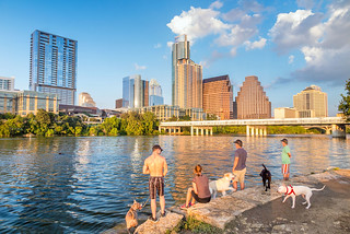 People-and-dogs-with-a-view-of-Austin-Texas-downtown-skyline