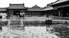 Leaving the rain (Go-tea 郭天) Tags: pékin beijingshi chine cn beijing forbidden city imperial palace candid old ancient pavillon door gate roof rain rainy raining umbrella walk walking movement group together wet refection puddle stairs pavement traditional tradition history historical historic construction building tourist touristic visiting visitor wodden men women street urban outside outdoor people bw bnw black white blackwhite blackandwhite monochrome naturallight natural light asia asian china chinese canon eos 100d 24mm prime