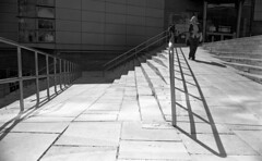 Confusion (4foot2) Tags: confusion streetphoto streetshot street streetphotography candid candidportrate reportage reportagephotography people peoplewatching interestingpeople manchester manchesterpeople shadows shadow steps railings analogue film filmphotography 35mmfilm 35mm 35mmf2 35mmf2summicron summicron leica leicam3 m3 mono monochrome bw blackandwhite rodinal rolleiretro rolleiretro400s 400s rangefinder standdevelop 2017 fourfoottwo 4foot2 4foot2photostream 4foot2flickr