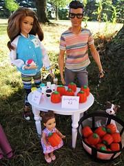 A Roadside Stop (flores272) Tags: kellydoll chelseadoll teresadoll barbiedoll kendoll barbie barbiefashionistas barbieclothing pumpkins fall outdoors toydog roadsidestop doll dolls toy toys