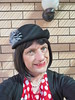 New Hat (justplainrachel) Tags: justplainrachel rachel hat cd tv crossdresser transvestite trans tgirl transgender polkadots cardigan dress headgear millinery selfie selfportrait