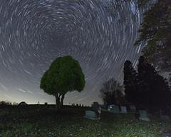 Cemetery under the stars (debbie_dicarlo) Tags: startrails stars starrynight cemeteryatnight longexposure