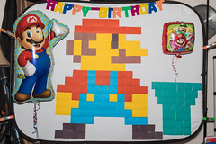 Mario Brothers Birthday Decorations (Jemlnlx) Tags: canon eos 5d mark iv 4 5div 5d4 birthday party decor decorations super mario brothers nintendo wall art postit post it retro nes entertainment system presents gifts balloon balloons happy luigi