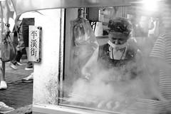 Sausage Stall (superzookeeper) Tags: food formosa 5dmk4 5dmkiv canoneos5dmarkiv ef2470mmf28liiusm eos digital taiwan pingxi blackandwhite bnw monochrome tw streetfood oldtownpingxi people favorites sausage street oldlady smoke