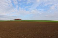 Emptiness of fields (Xtraphoto) Tags: acre acker landschaft landscape herbst autumn wolken clouds empty emptiness leere felder feld fields field barn