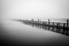 Vanishing Point (Jill Clardy) Tags: belgium europe location tulipsandwindmills vantagetravel travel river fog vanishing point bw black white still pier 20170402mg5520 explore explored