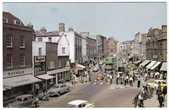 Chelmsford - High Street in the 1960's (pepandtim) Tags: postcard old early nostalgia nostalgic scooter chelmsford high street 1960s policeman pedestrians zebra crossing 99che43 queens head pub boots chemist maypole dairy chain founded 1887 wolverhampton household word produce 1926 branches main trade products eggs tea condensed milk butter margarine