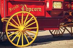 In The Good Old Summer Time (amarilloladi) Tags: painterly victoriabc pacificnorthwest butchartgardens retro nostalgia nostalgic popcorncarriage redandyellow popcorncart popcornvendor vintage cart hss sliderssunday popcorn