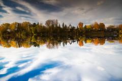 Reflections on Yamaska river (Québec) (BLEUnord) Tags: sthyacinthe rivière river yamaska réflexions reflections nuages clouds ciel sky québec province canada automne fall autumn nuageux cloudy 180