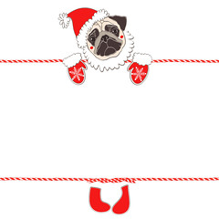 Christmas or New Year background with a pug in Santa Claus costume. Festive vector background with place for text. (everythingisfivedollar) Tags: pug santaclaus hat holiday dog face drawing animal white wrinkles doggy illustration greetingcard humorous sketch canine purebred handdrawn vector element red asian celebrate tradition zodiac cartoon art decoration chinese symbol calendar invitation 2018 newyear santa christmas background mittens mustache chihuahua