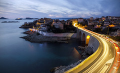 Malmousque @ dusk (Lolo_) Tags: longexposure sea bridge city dusk light trails marseille france malmousque corniche valmer kennedy jfk bluehour poselongue if frioul islands seaside street road