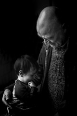 Grandpa and grandson, all love! (R. Scholte) Tags: familyfirst beautiful people child kid son baby nikon nikond3300 photo photography love picture portrait bw black white blackandwhite blur bokeh