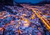 Winter Wonderland in Bergen, Norway (Paulius Bruzdeilynas) Tags: bergen norway norge norwegian city snow winter wonderland drone aerial evening night dark mountain traffic road houses citylights dji djimavicpro mavicpro