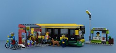 LEGO 60154 Bus Station🚌 (Alex THELEGOFAN) Tags: lego legography minifigure minifigures minifig minifigurine minifigs minifigurines bus city newsstand stop car 60154 citizen folks passenger driver worker bycicle set town