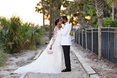 Sunset kiss by the palm trees - Doubletree Resort by Hilton Myrtle Beach (Ryan Smith Photography) Tags: wedding weddingphotography myrtlebeach httpswwwryansmithphotographycom