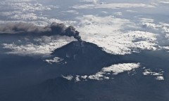 Smoking (wander luce) Tags: volcano nature landscape scenery clouds islands water aerial smoke ash