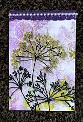 Mixed Media Postcard (CraftyBev) Tags: gelliprintedbackground modpodge postcard napkin mixedmedia