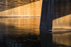 Finding Light, Lines and Angles (matthewkaz) Tags: bridge overpass underpass river grandriver water reflection reflections angles triangles triangle shape shapes trestle railroad traintrestle light lansing inghamcounty downtown michigan 2017 snow