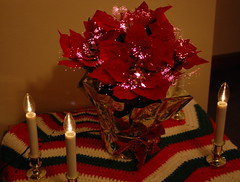 Christmas At Our House. (dccradio) Tags: lumberton nc northcarolina robesoncounty indoors inside christmasdecorations christmas christmastime nikon d40 dslr batteryoperatedcandles candles lights christmaslights poinsettia fiberoptic illuminated artificial crocheted wall