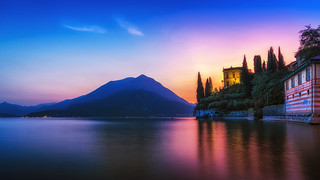 Villa Monastero and Lake Como during Summer sunset in Varenna Italy