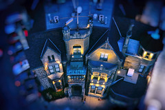 Blue Mystery Castle of Miniature Lands (Katrin Ray) Tags: bluemysterycastleofminiaturelands bluehour tilfshift miniaturestyle digimagic toyrontolife toyland colours yellow golden light jarvismansiondistrict arthurrmcmasterhouse euclidhall gothicrevivalstyle kegmansion heritagebuilding torontodowntown toronto ontario canada katrinray dreamscapesoftoronto happyminiaturesunday hsm tiltshift planetary littleplanet canon canonphotography eos rebel t6i 750d