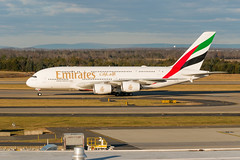 17-7711 (George Hamlin) Tags: virginia chantilly washington dulles international airport iad emirates airline airbus a380800 airplane aircraft airliner jumbo super widebody a6euh trees grass photo decor george hamlin photography